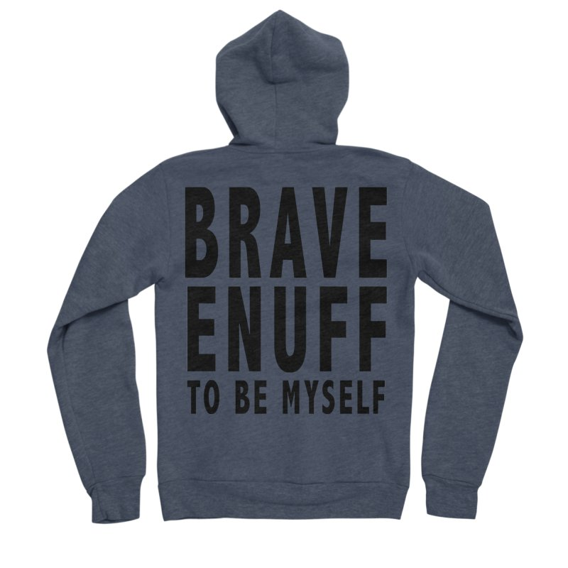 Brave Enuff Blk Men's Sponge Fleece Zip-Up Hoody by Terry Bradford Store