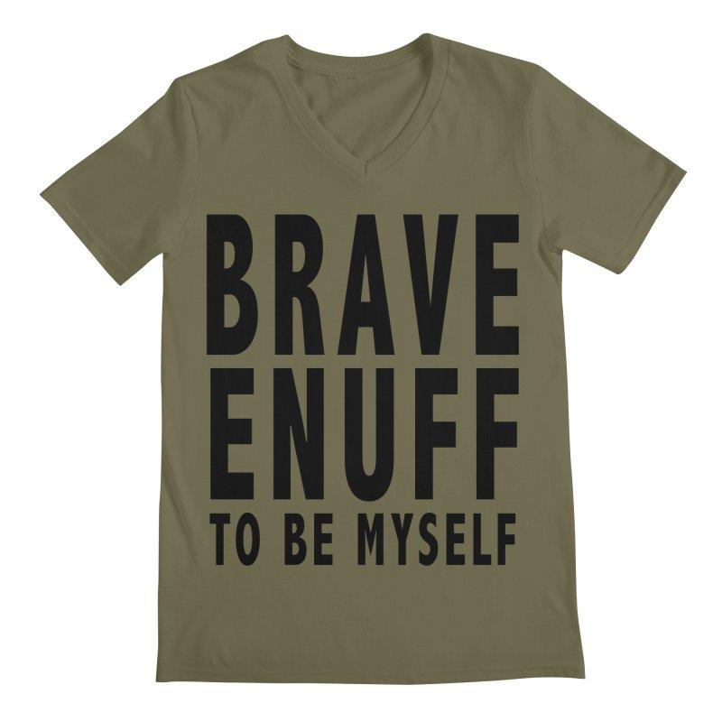 Brave Enuff Blk Men's Regular V-Neck by Terry Bradford Store