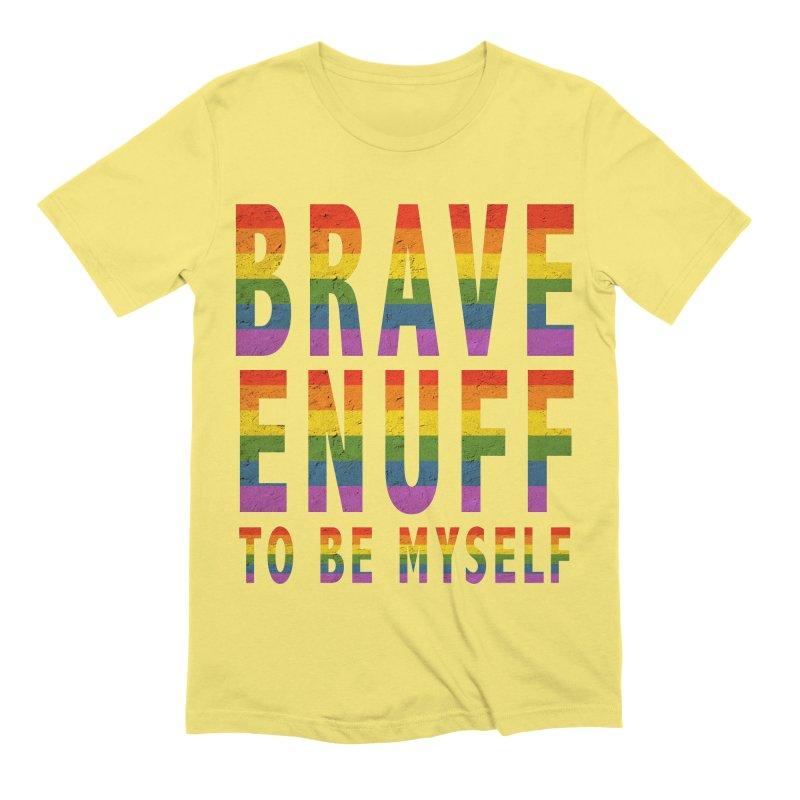 Brave Enuff Rainbow Men's Extra Soft T-Shirt by Terry Bradford Store