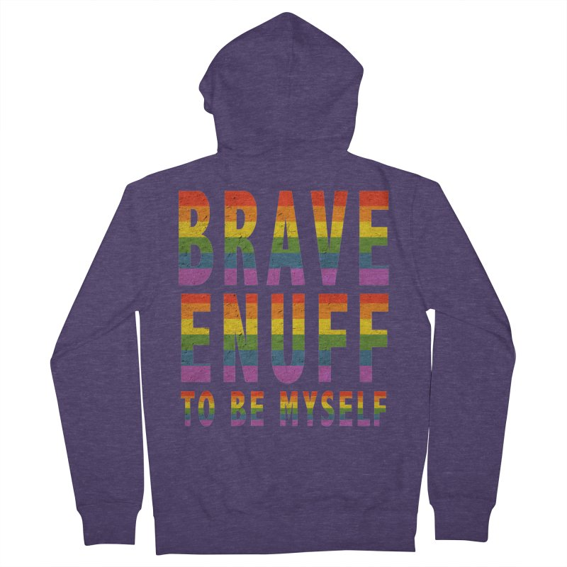 Brave Enuff Rainbow Men's French Terry Zip-Up Hoody by Terry Bradford Store