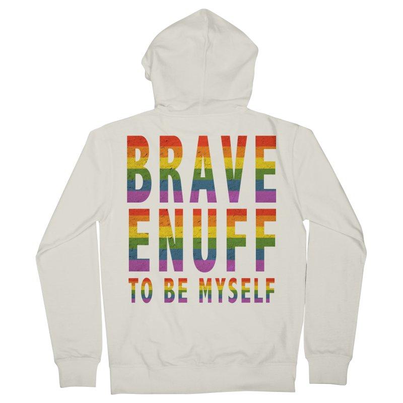 Brave Enuff Rainbow Men's Zip-Up Hoody by Terry Bradford Store