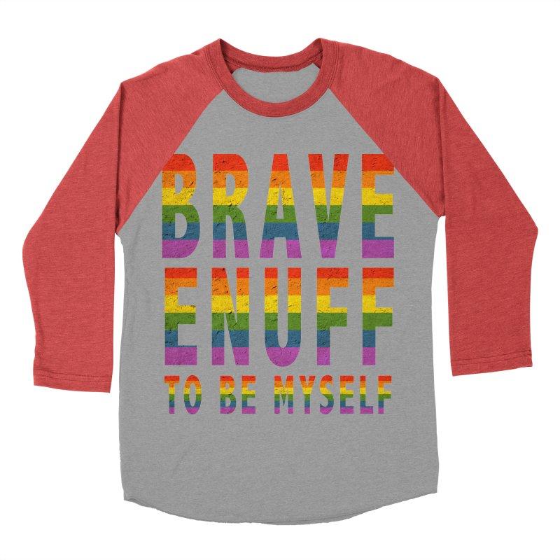 Brave Enuff Rainbow Men's Baseball Triblend Longsleeve T-Shirt by Terry Bradford Store