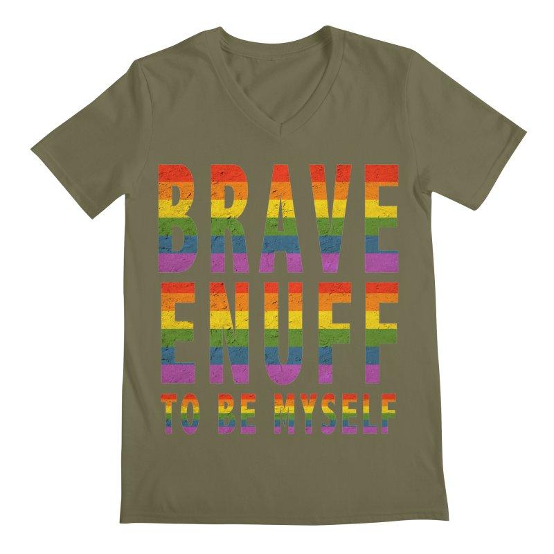 Brave Enuff Rainbow Men's V-Neck by Terry Bradford Store