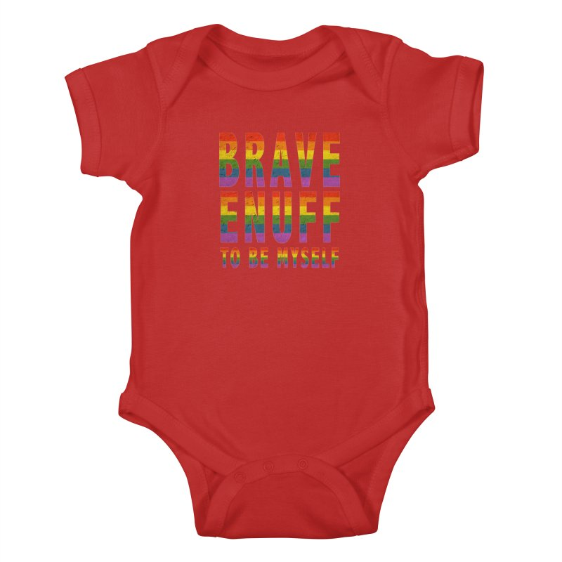 Brave Enuff Rainbow Kids Baby Bodysuit by Terry Bradford Store