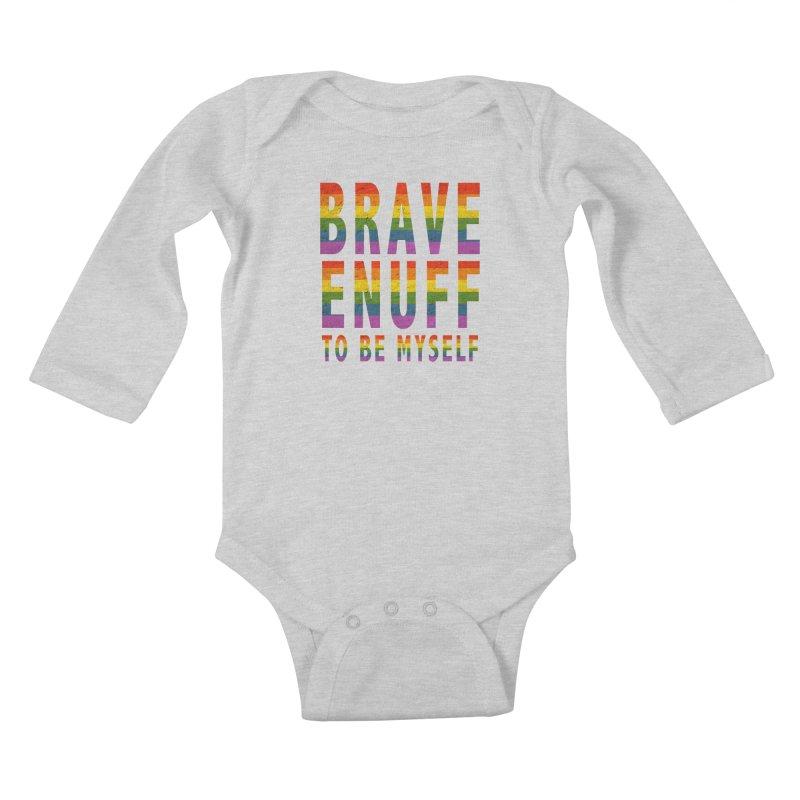 Brave Enuff Rainbow Kids Baby Longsleeve Bodysuit by Terry Bradford Store