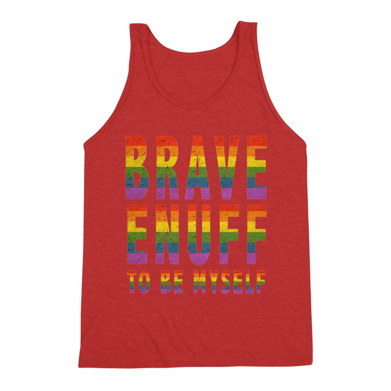 Brave Enuff Rainbow Men's Triblend Tank by Terry Bradford Store