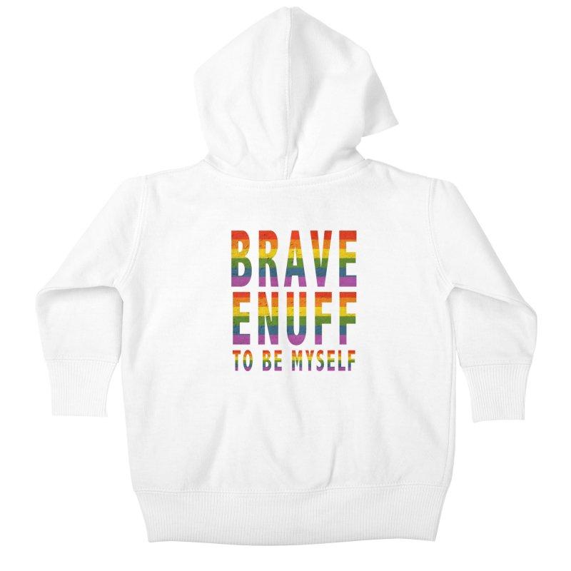 Brave Enuff Rainbow Kids Baby Zip-Up Hoody by Terry Bradford Store