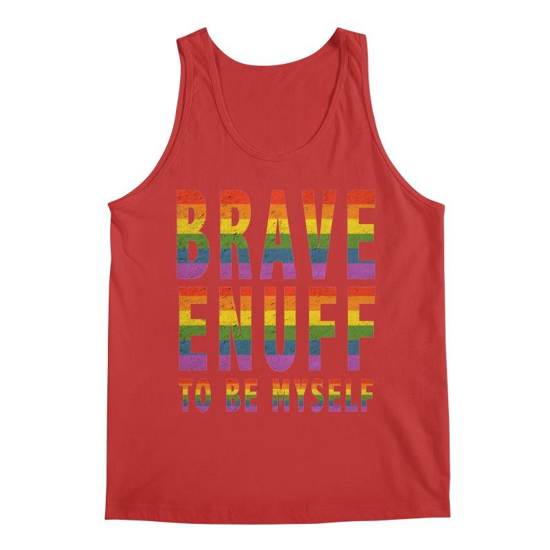 Brave Enuff Rainbow Men's Regular Tank by Terry Bradford Store