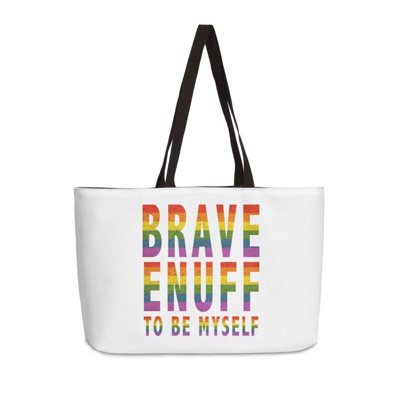 Brave Enuff Rainbow Accessories Weekender Bag Bag by Terry Bradford Store