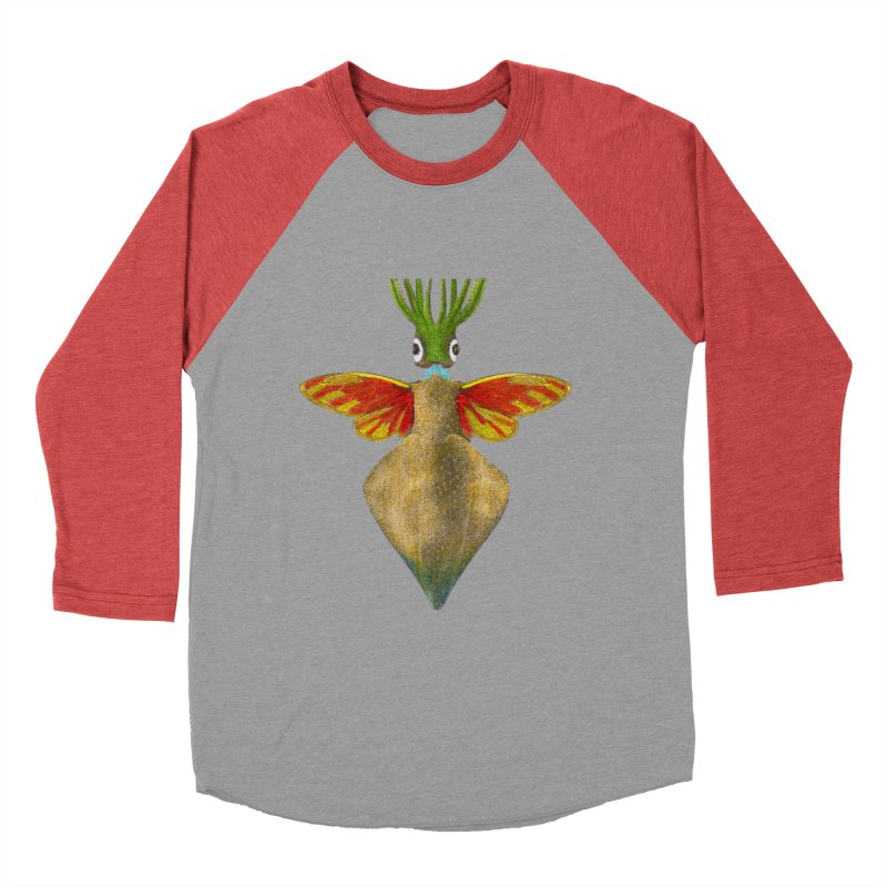 Winged Cuttlefish in Men's Baseball Triblend Longsleeve T-Shirt Chili Red Sleeves by TeeGoo's Shop