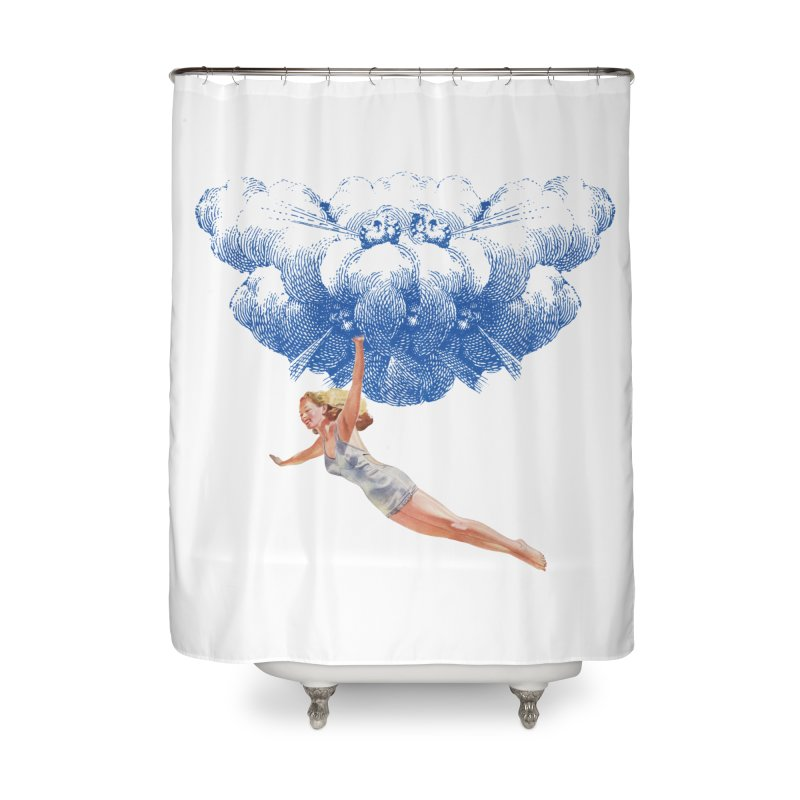 Flying Girl Home Shower Curtain by TeeGoo's Shop