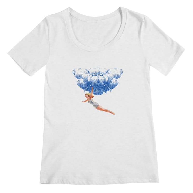 Flying Girl Women's Regular Scoop Neck by TeeGoo's Shop