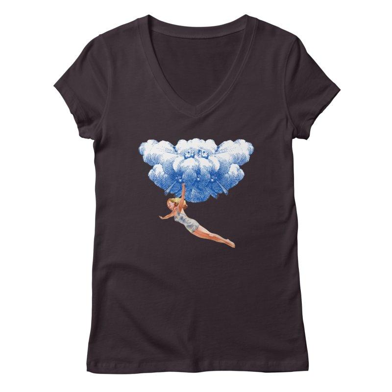 Flying Girl Women's Regular V-Neck by TeeGoo's Shop