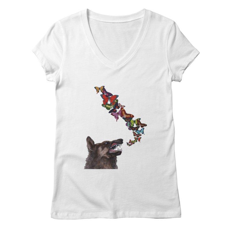 Wolfie Women's V-Neck by TeeGoo's Shop