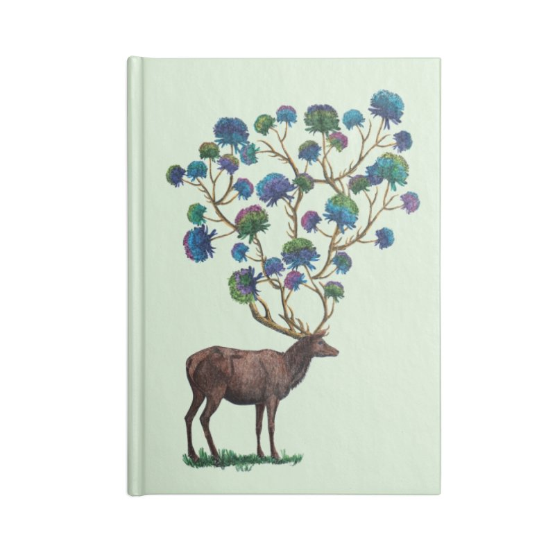 DeerFlowerAntlers Accessories Lined Journal Notebook by TeeGoo's Shop