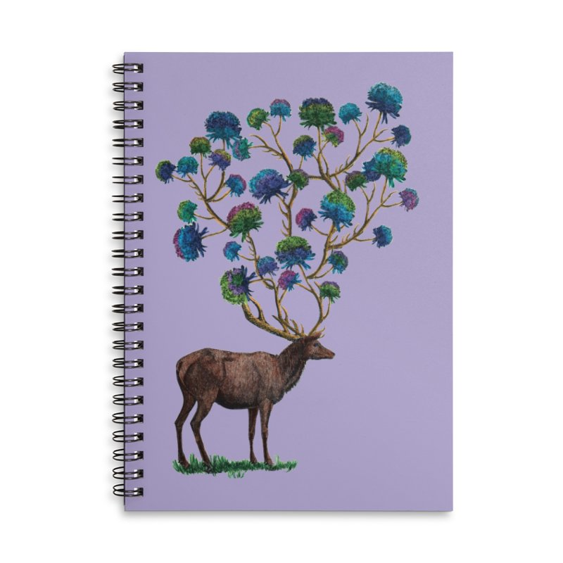 DeerFlowerAntlers Accessories Lined Spiral Notebook by TeeGoo's Shop