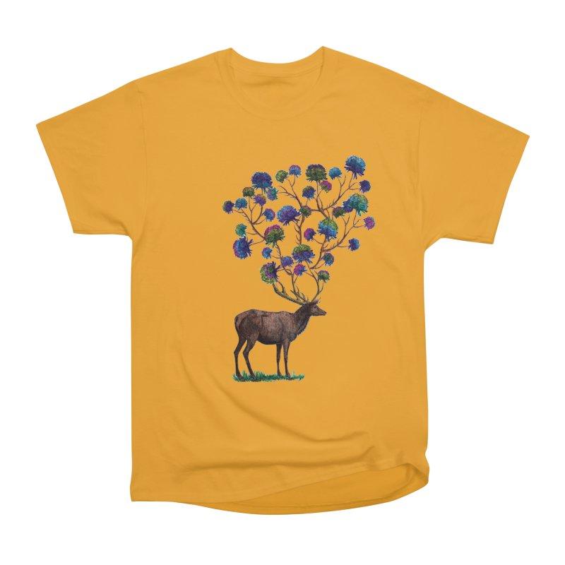 DeerFlowerAntlers Women's Heavyweight Unisex T-Shirt by TeeGoo's Shop
