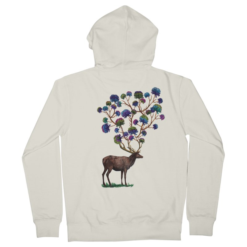 DeerFlowerAntlers in Women's French Terry Zip-Up Hoody Heather Oatmeal by TeeGoo's Shop