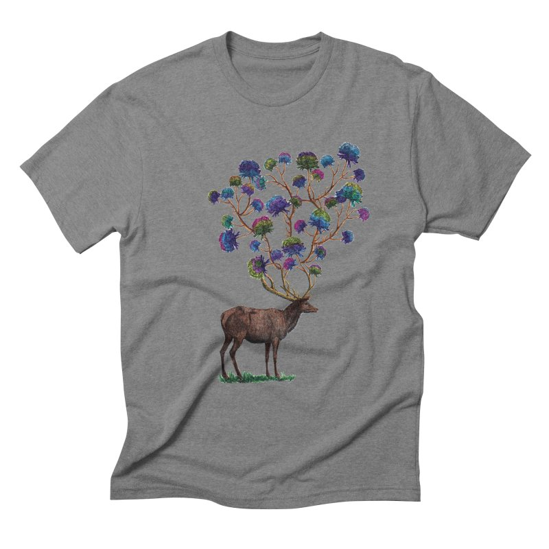 DeerFlowerAntlers Men's Triblend T-Shirt by TeeGoo's Shop