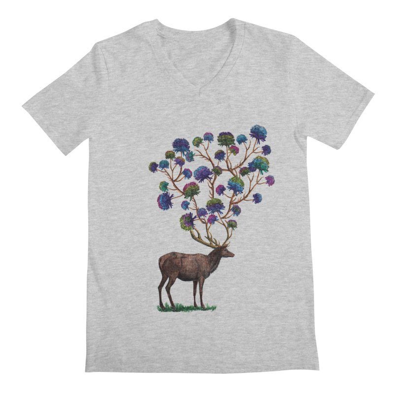 DeerFlowerAntlers Men's Regular V-Neck by TeeGoo's Shop