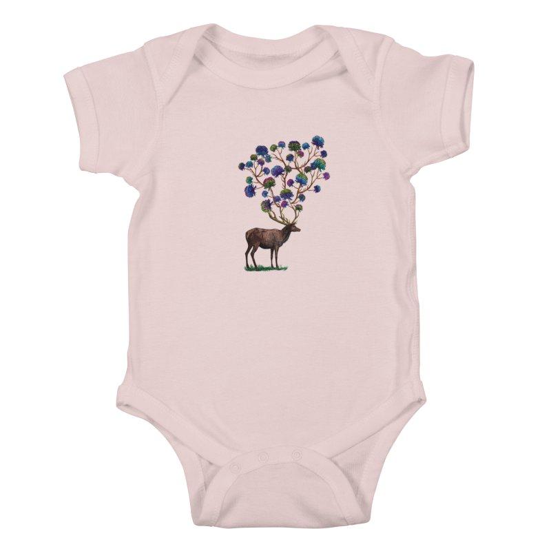 DeerFlowerAntlers Kids Baby Bodysuit by TeeGoo's Shop