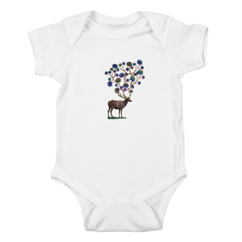 DeerFlowerAntlers Kids Baby Bodysuit by TeeGoo's Shop