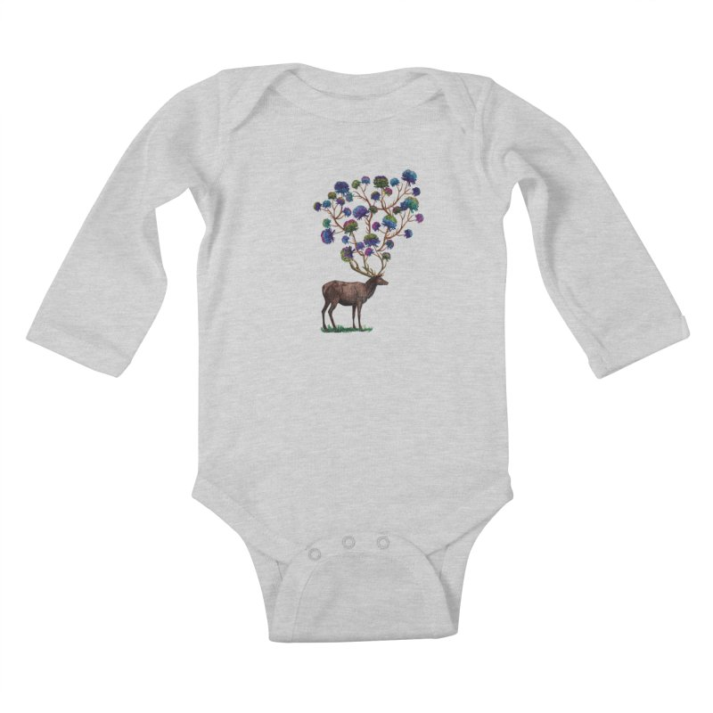 DeerFlowerAntlers Kids Baby Longsleeve Bodysuit by TeeGoo's Shop