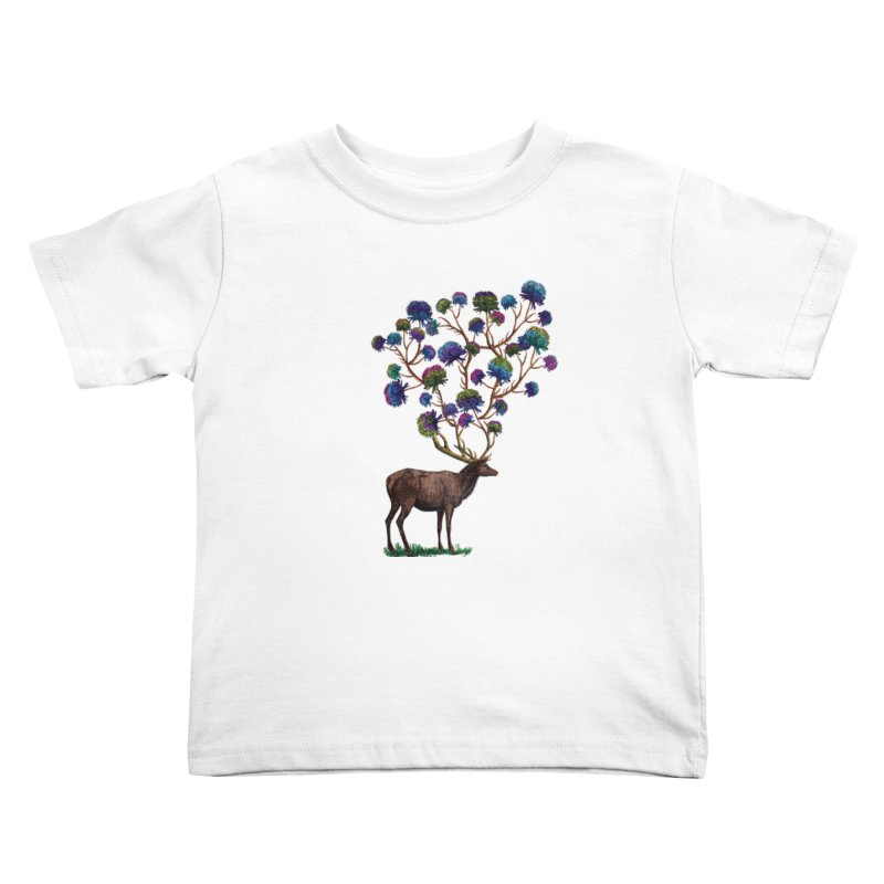 DeerFlowerAntlers Kids Toddler T-Shirt by TeeGoo's Shop