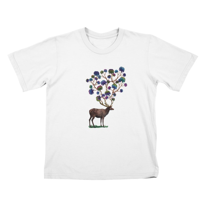 DeerFlowerAntlers Kids T-Shirt by TeeGoo's Shop