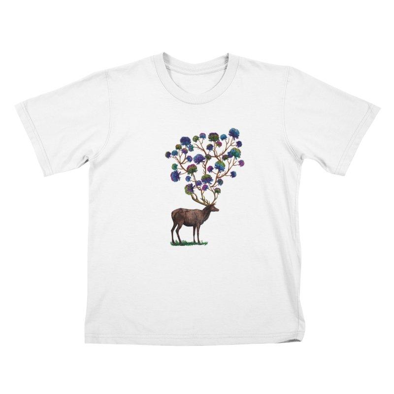 DeerFlowerAntlers Kids T-Shirt by TeeGoo's Shop