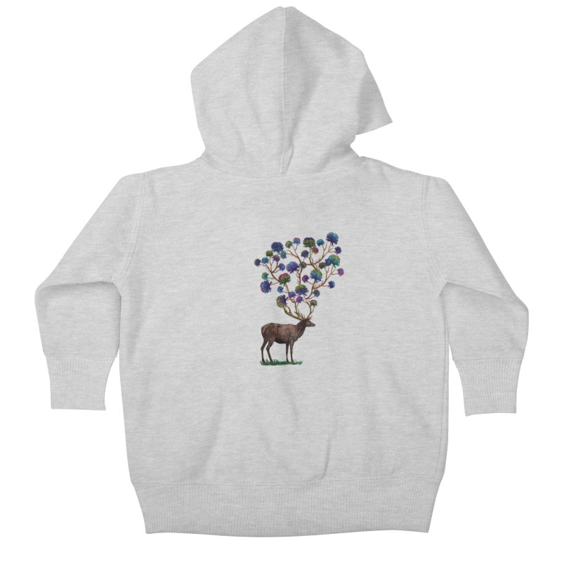 DeerFlowerAntlers Kids Baby Zip-Up Hoody by TeeGoo's Shop