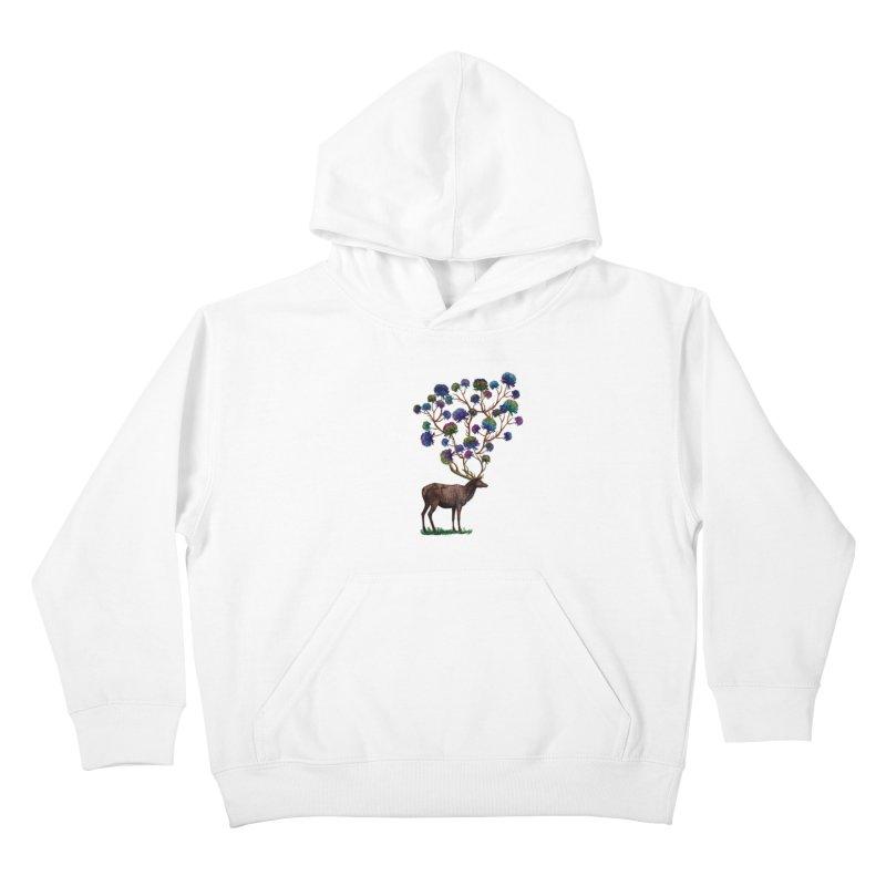 DeerFlowerAntlers Kids Pullover Hoody by TeeGoo's Shop