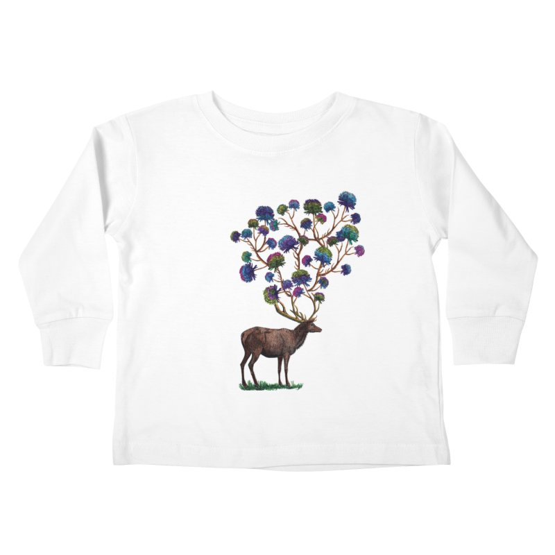 DeerFlowerAntlers Kids Toddler Longsleeve T-Shirt by TeeGoo's Shop