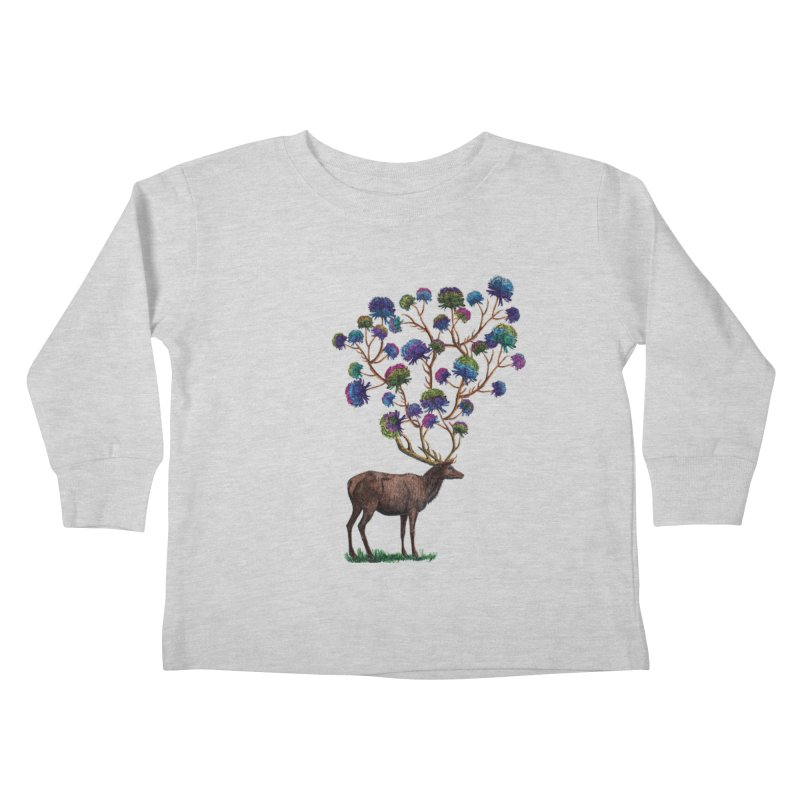 DeerFlowerAntlers Kids Toddler Longsleeve T-Shirt by TeeGoo's Shop