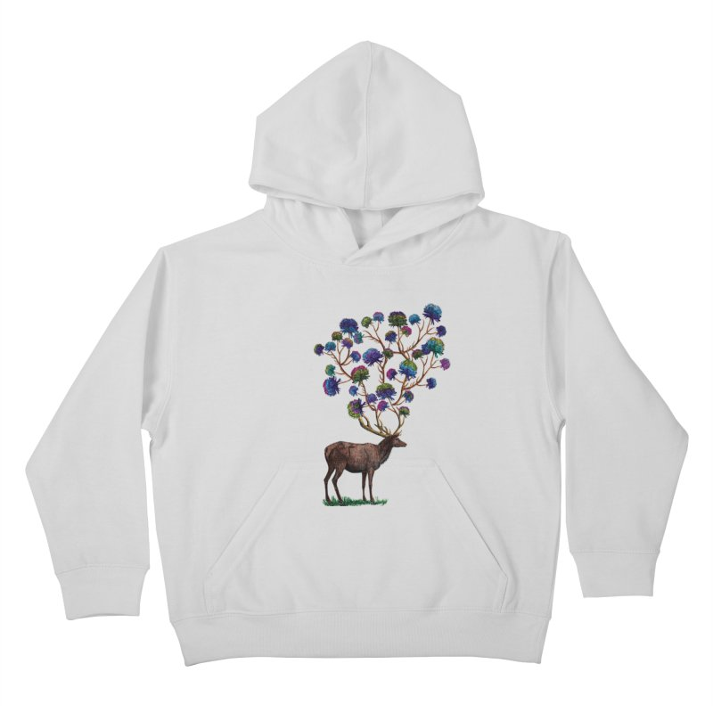 DeerFlowerAntlers Kids Pullover Hoody by TeeGoo's Shop