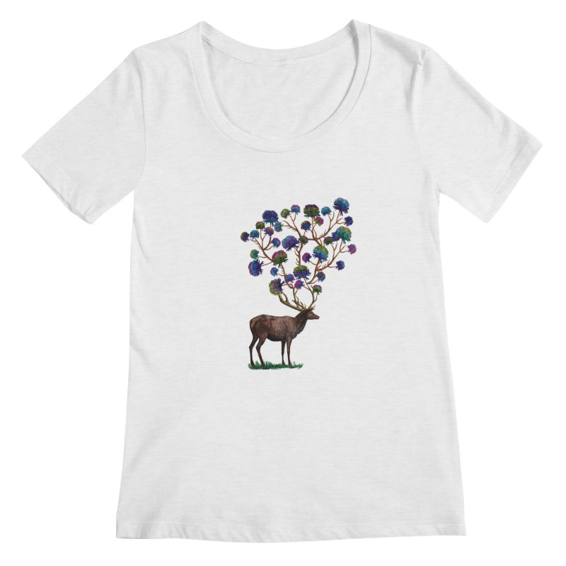 DeerFlowerAntlers Women's Regular Scoop Neck by TeeGoo's Shop