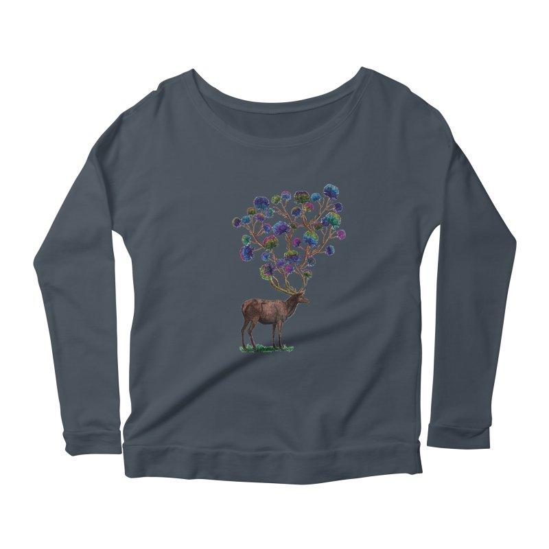DeerFlowerAntlers Women's Scoop Neck Longsleeve T-Shirt by TeeGoo's Shop