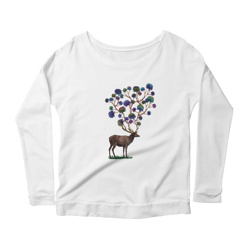 DeerFlowerAntlers Women's Scoop Neck Longsleeve T-Shirt by TeeGoo's Shop