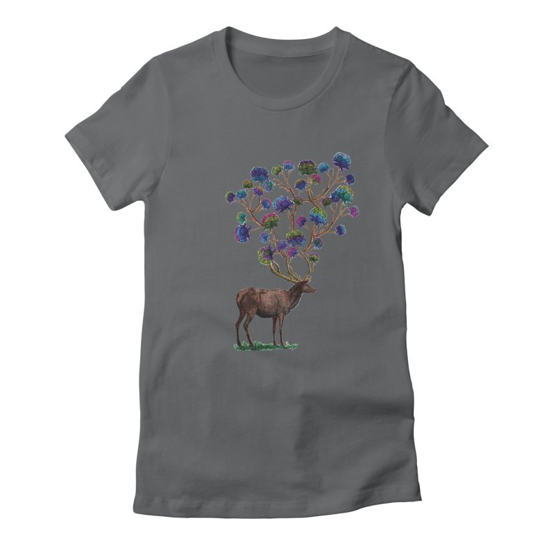 DeerFlowerAntlers Women's Fitted T-Shirt by TeeGoo's Shop
