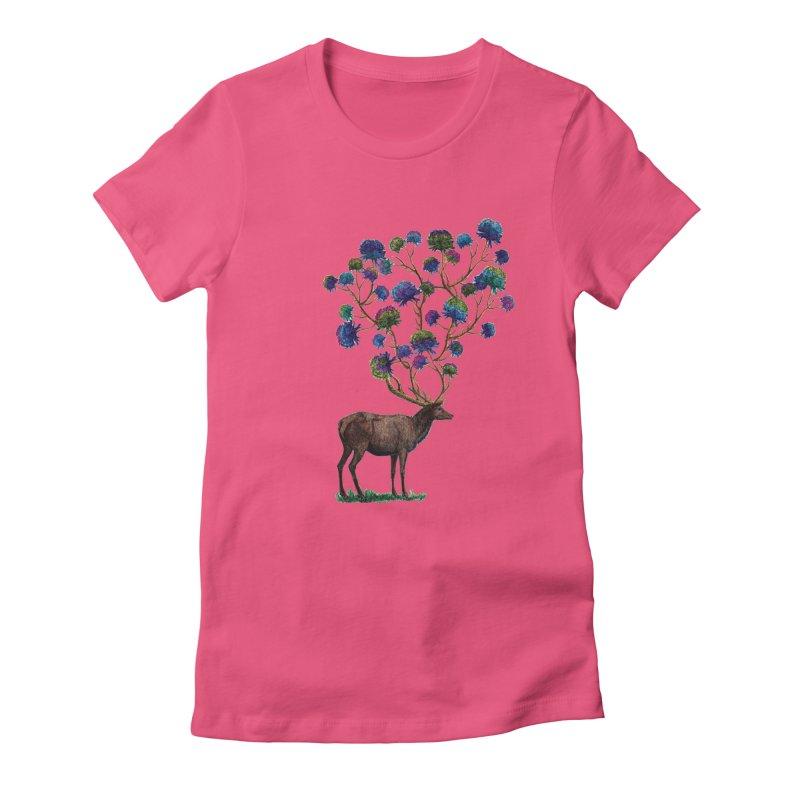 DeerFlowerAntlers Women's Fitted T-Shirt by TeeGoo's Shop