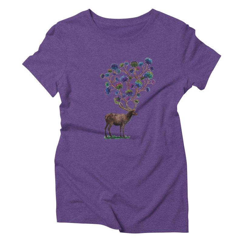 DeerFlowerAntlers Women's Triblend T-Shirt by TeeGoo's Shop