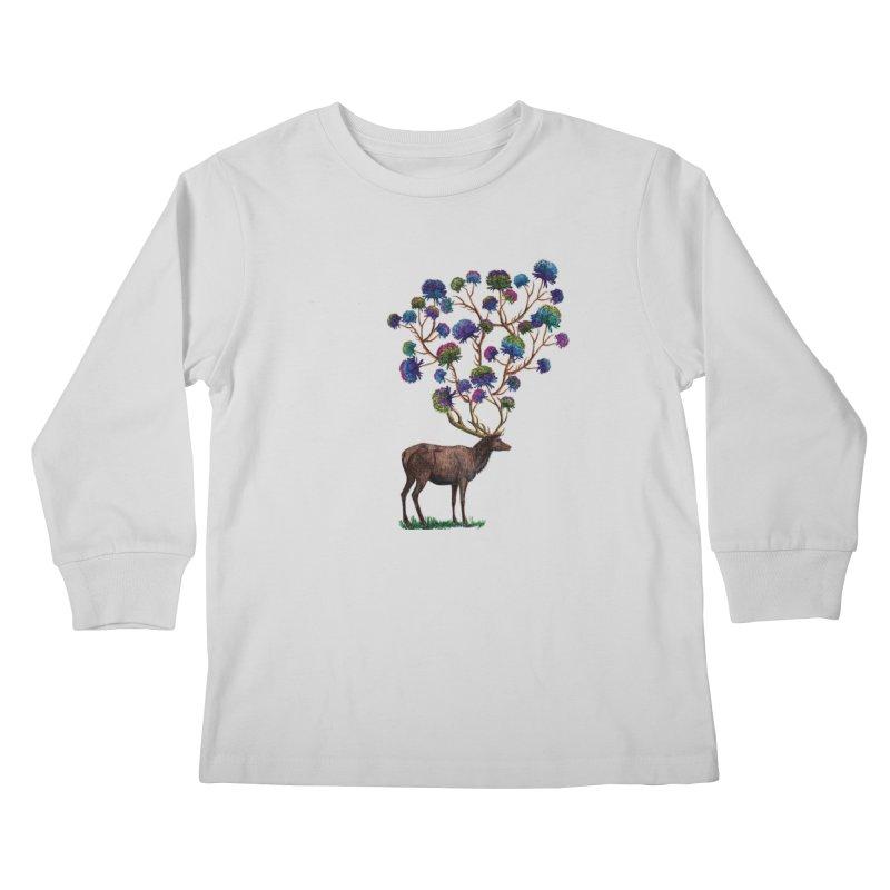 DeerFlowerAntlers Kids Longsleeve T-Shirt by TeeGoo's Shop