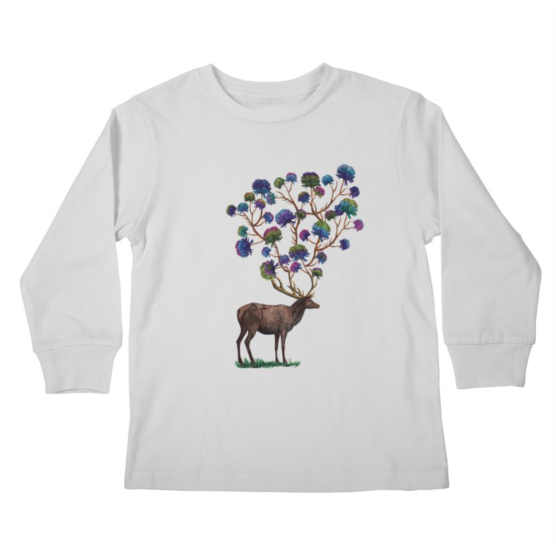 DeerFlowerAntlers Kids Longsleeve T-Shirt by TeeGoo's Shop