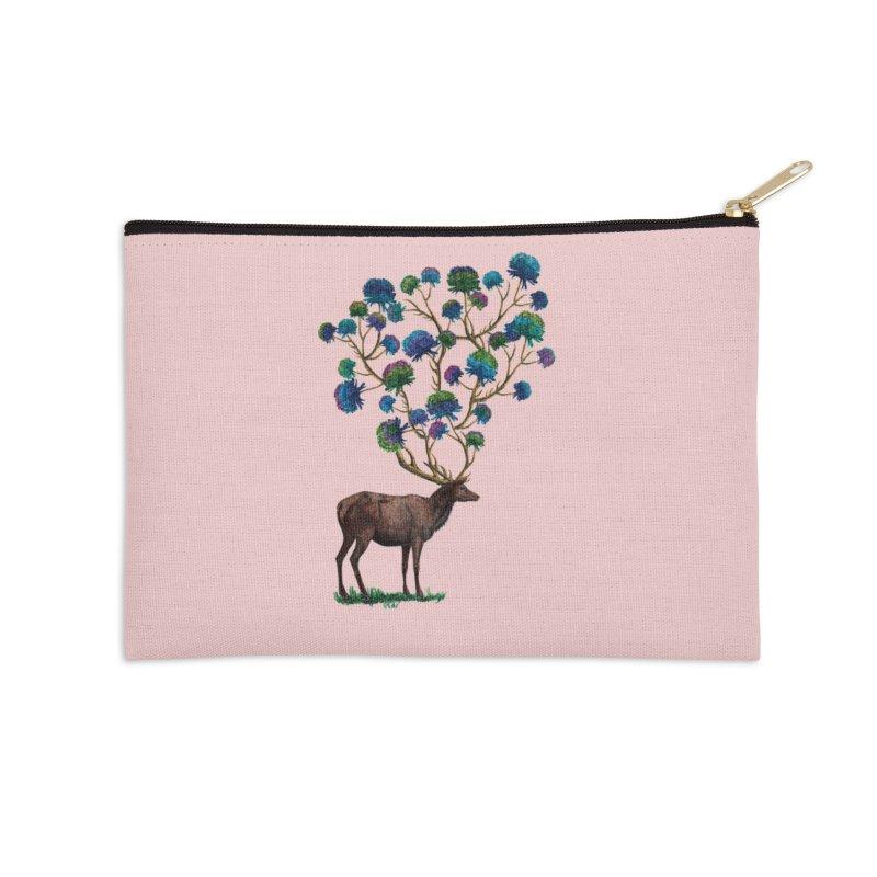 DeerFlowerAntlers Accessories Zip Pouch by TeeGoo's Shop