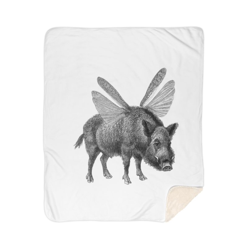 When Pigs Fly Home Sherpa Blanket Blanket by TeeGoo's Shop