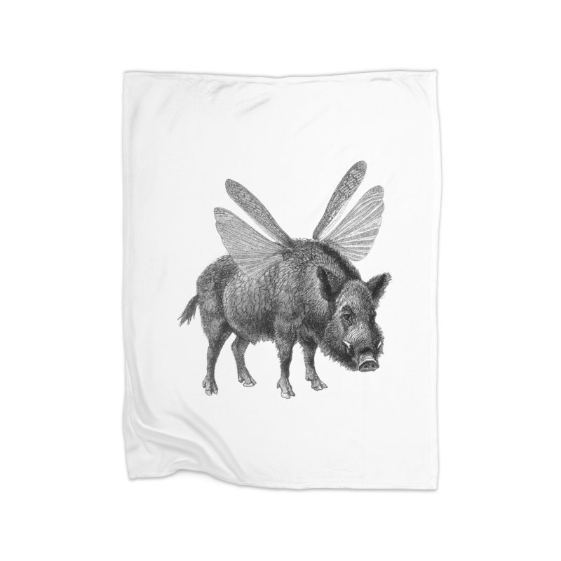 When Pigs Fly Home Fleece Blanket Blanket by TeeGoo's Shop