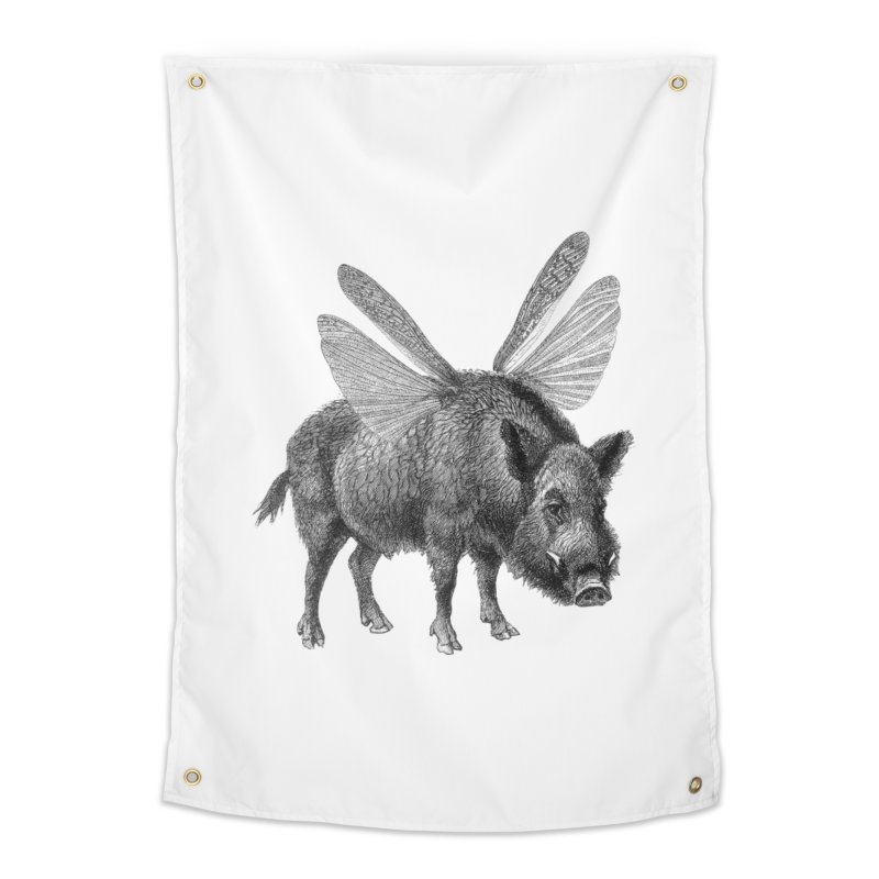 When Pigs Fly Home Tapestry by TeeGoo's Shop