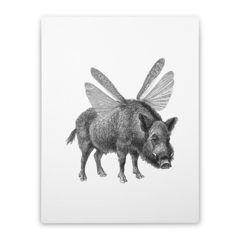 When Pigs Fly Home Stretched Canvas by TeeGoo's Shop