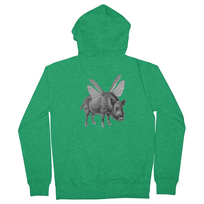 When Pigs Fly Men's French Terry Zip-Up Hoody by TeeGoo's Shop