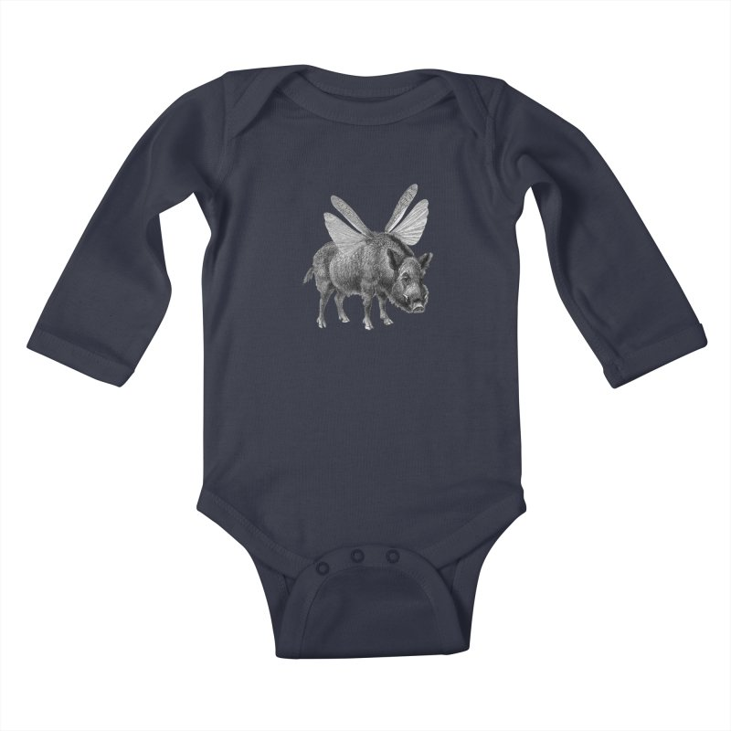 When Pigs Fly Kids Baby Longsleeve Bodysuit by TeeGoo's Shop